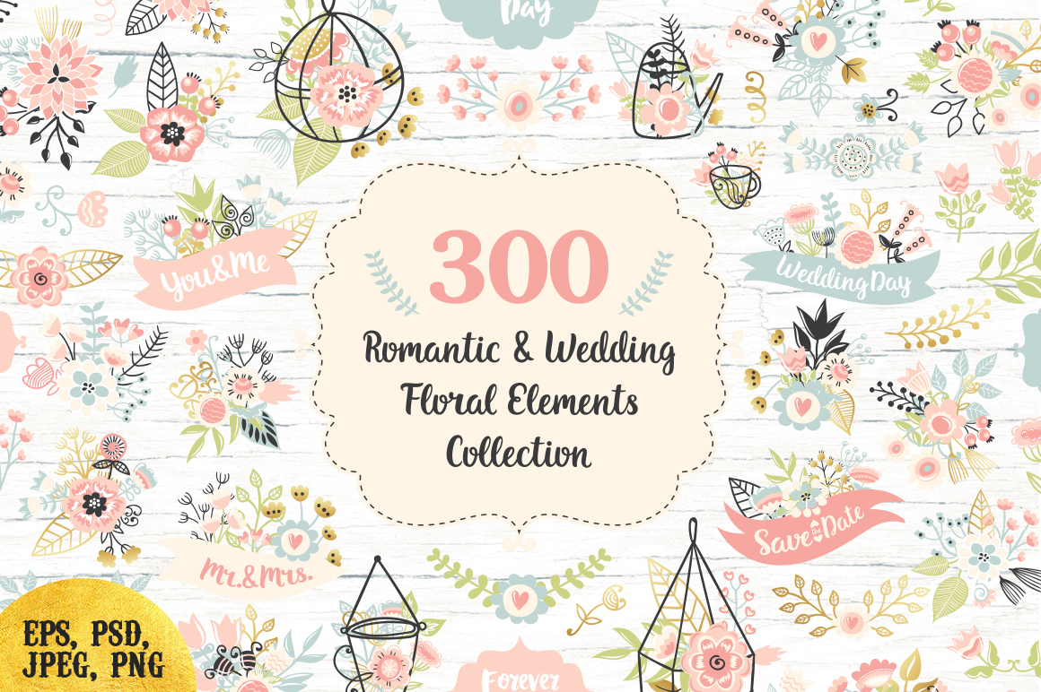 300 Wedding Floral Romantic Set example image 1
