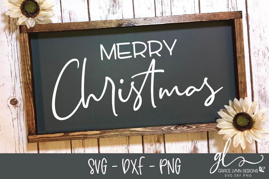 Merry Christmas - Christmas Cut File - SVG, DXF & PNG example image 1