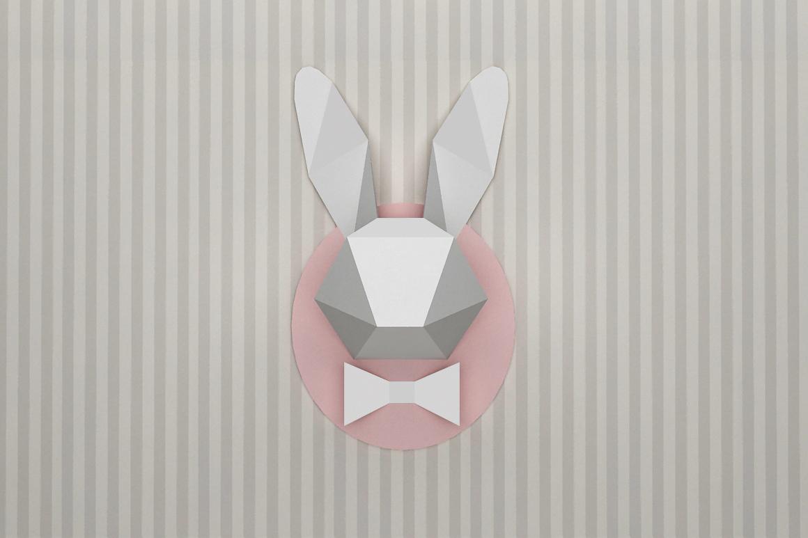DIY Rabbit head trophy - 3d papercraft example image 2