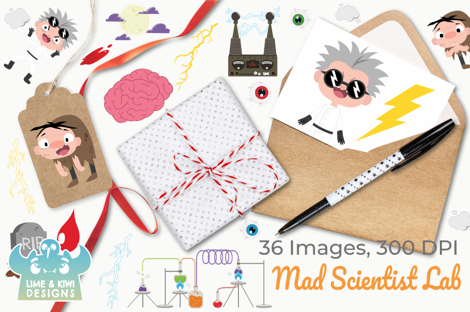 Mad Scientist Lab Clipart, Instant Download Vector Art example image 4