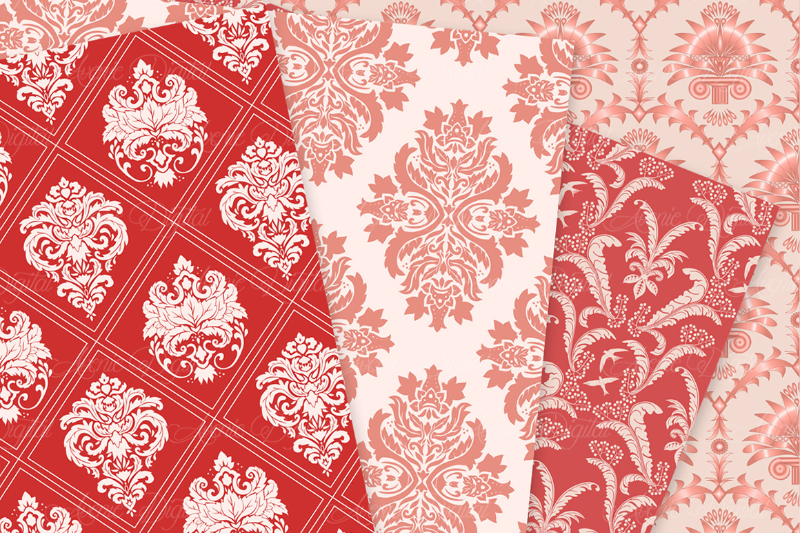 28 Red Damask Patterns - Seamless Digital Papers Bundle example image 7