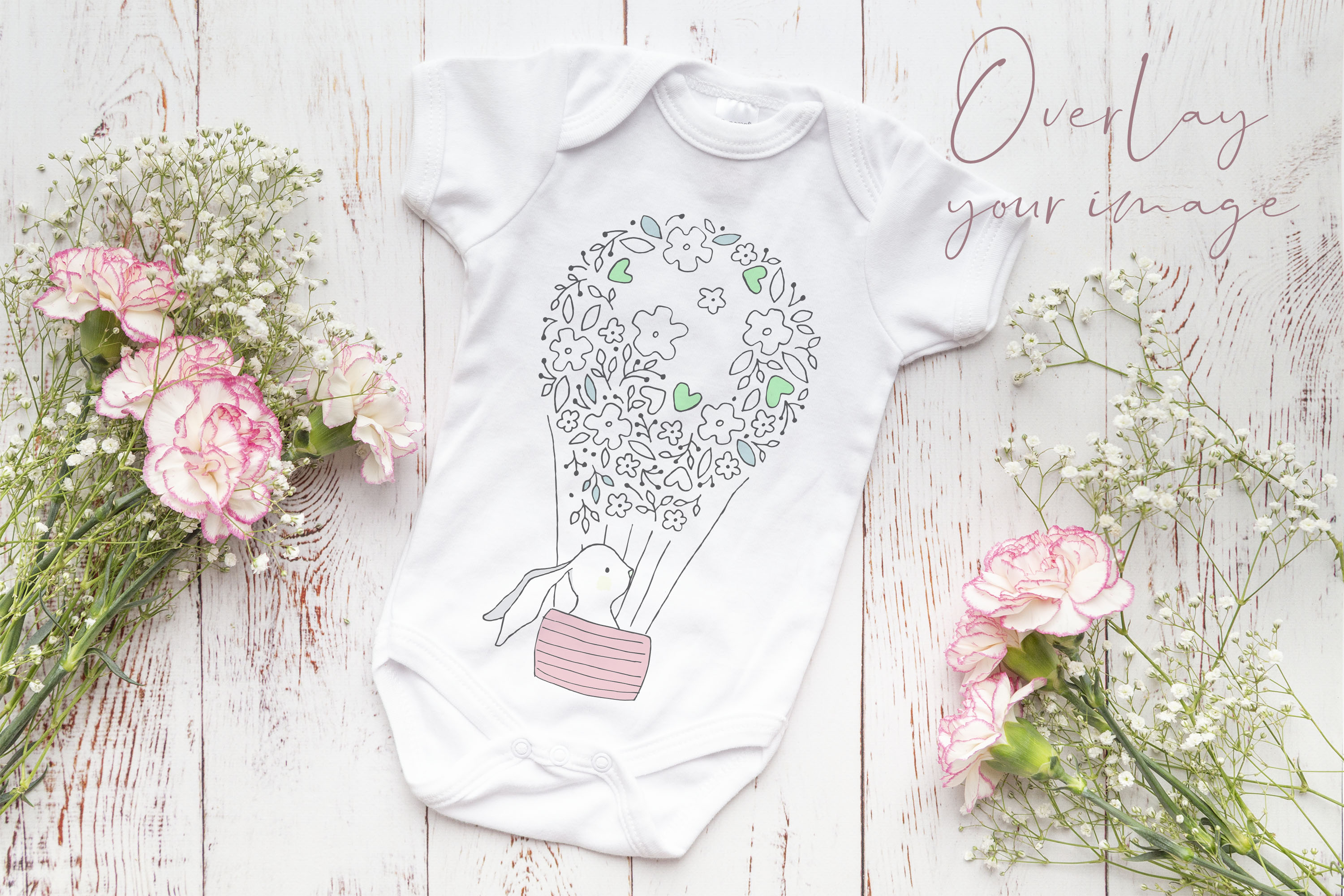 Onsie, Infant bodysuit Mockup, pink and white carnations example image 2