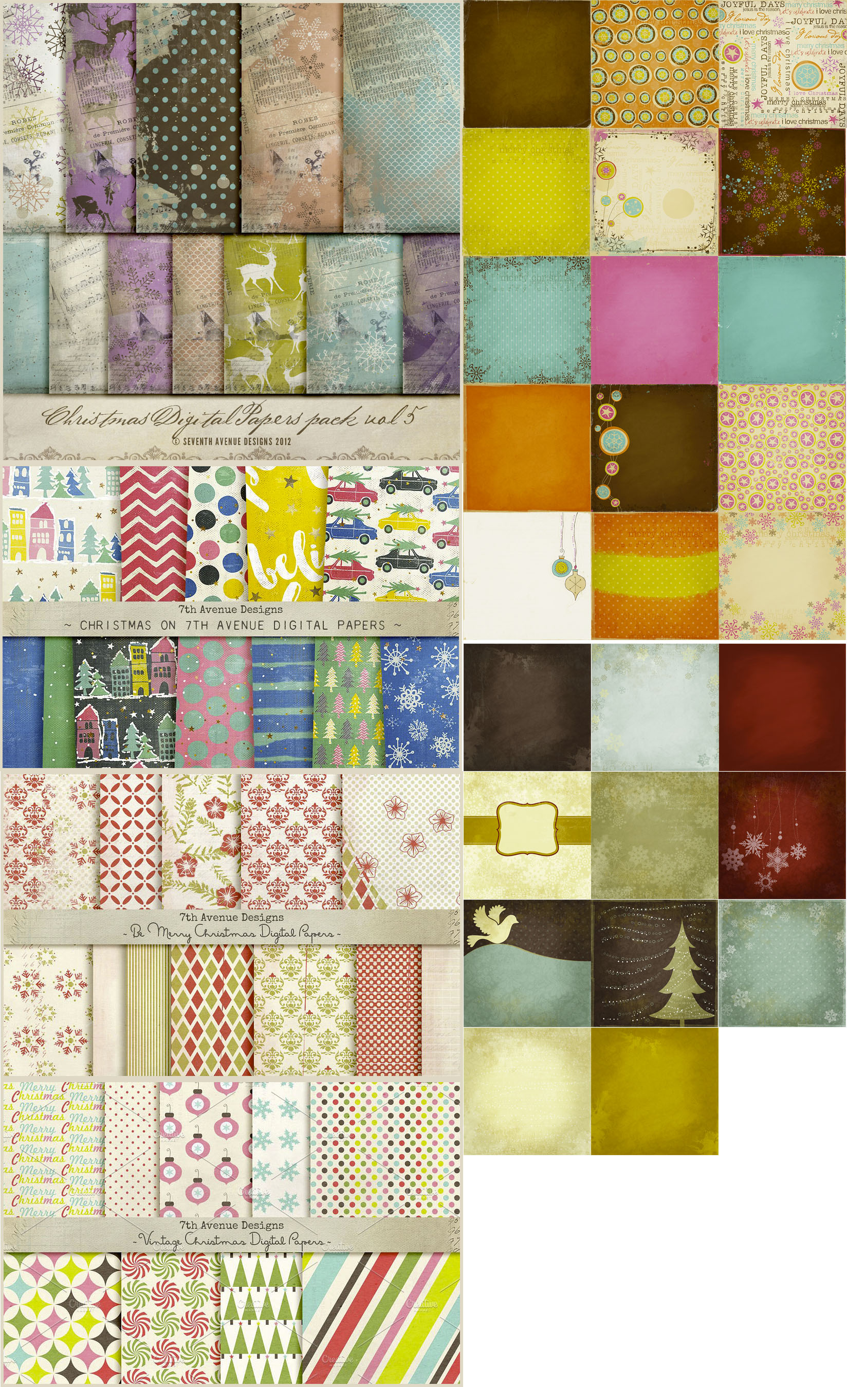 Holiday Digital Papers Bundle example image 2