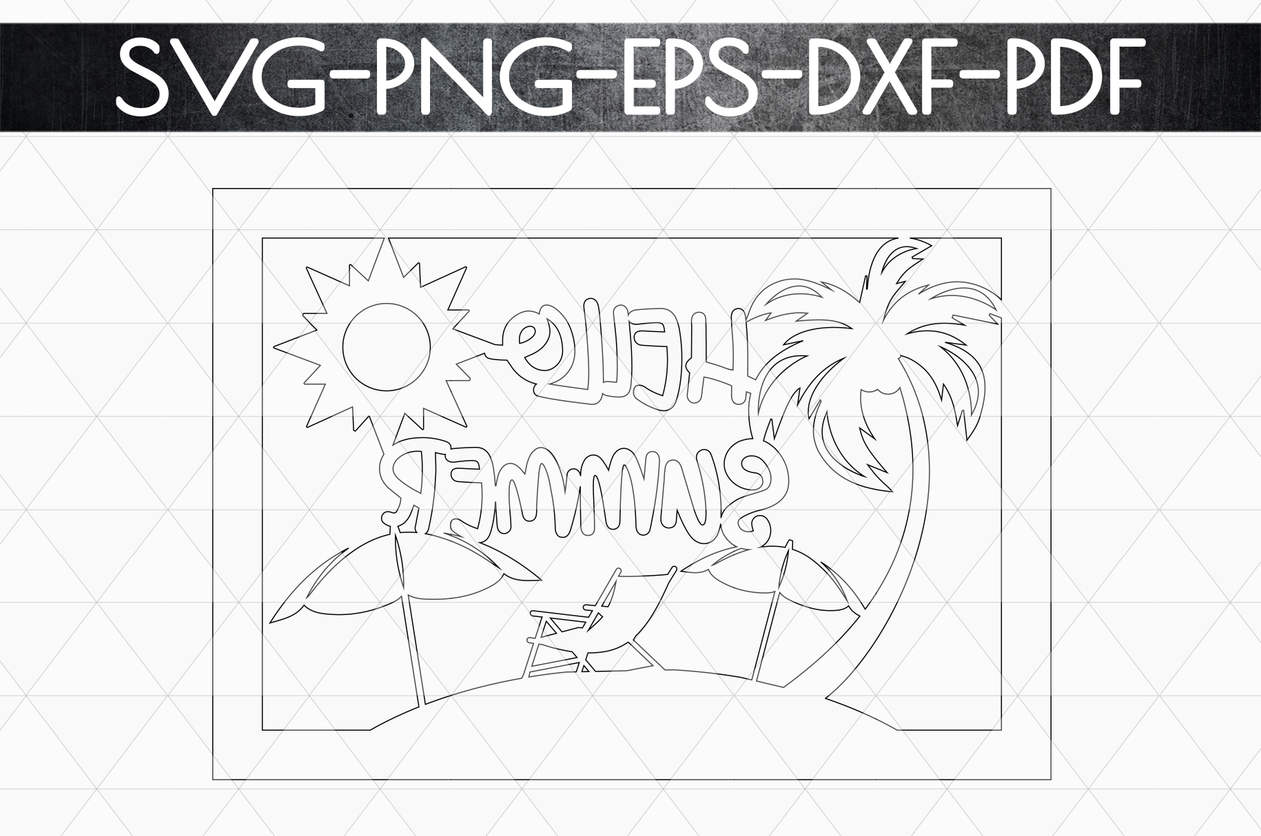 Hello Summer Papercut Template, Beach House Decor SVG, DXF example image 5
