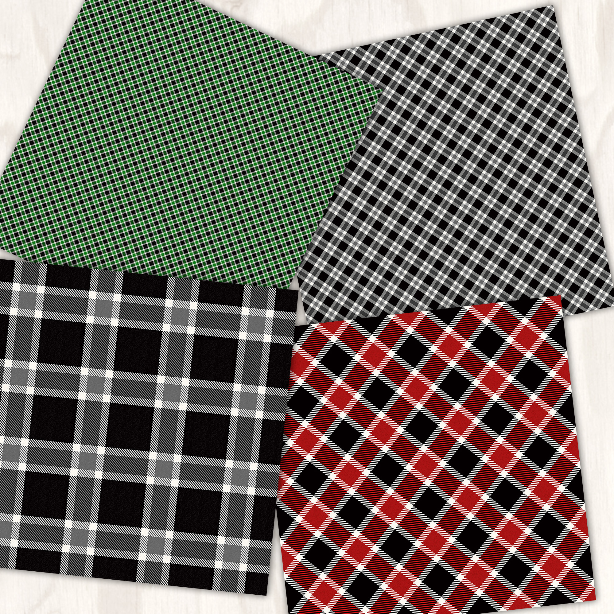 Cozy Christmas Plaid 12 Tileable Digital Papers example image 4