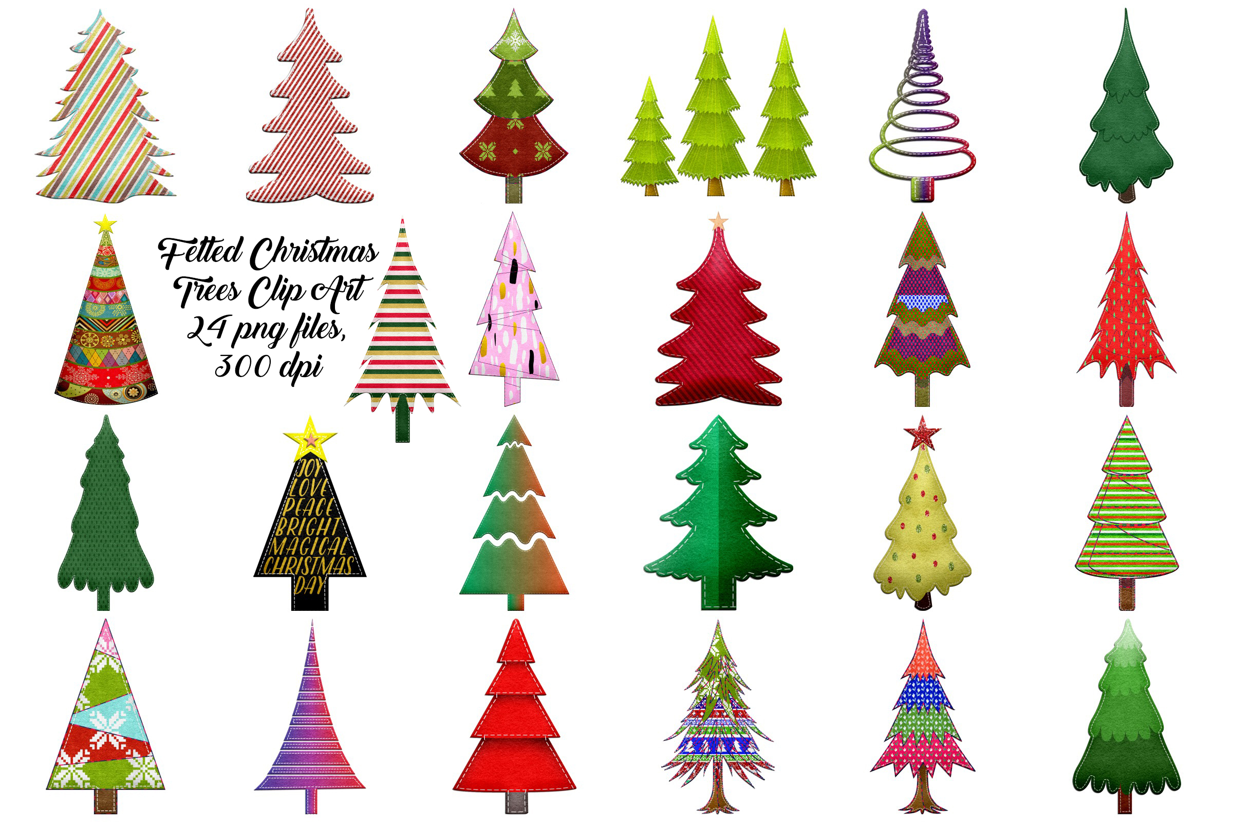 Christmas Felted Trees Clip Art example image 1