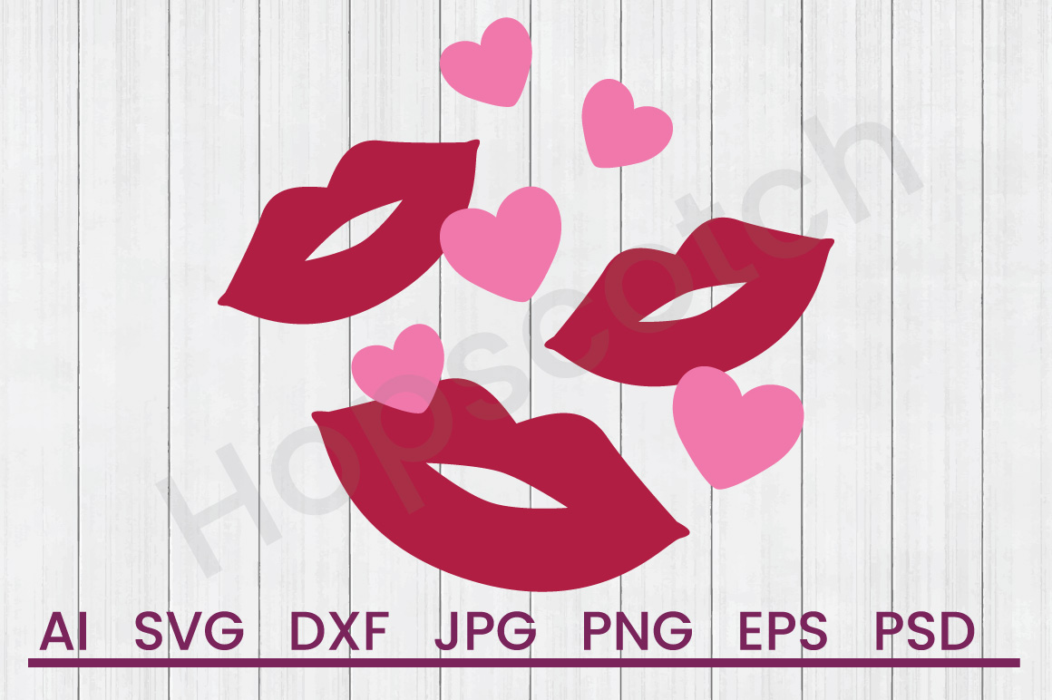 Kisses SVG, DXF File, Cuttatable File example image 1