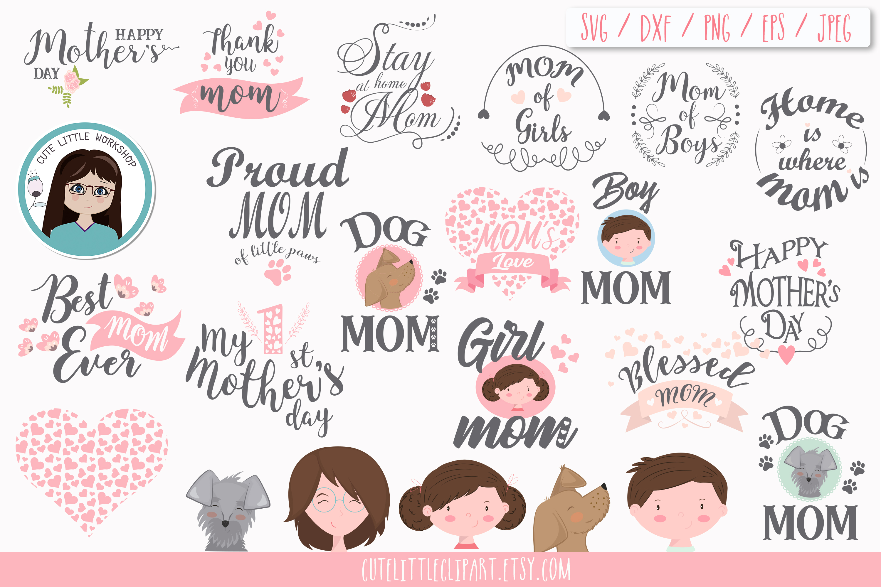 Mom day bundle clipart and svg example image 5