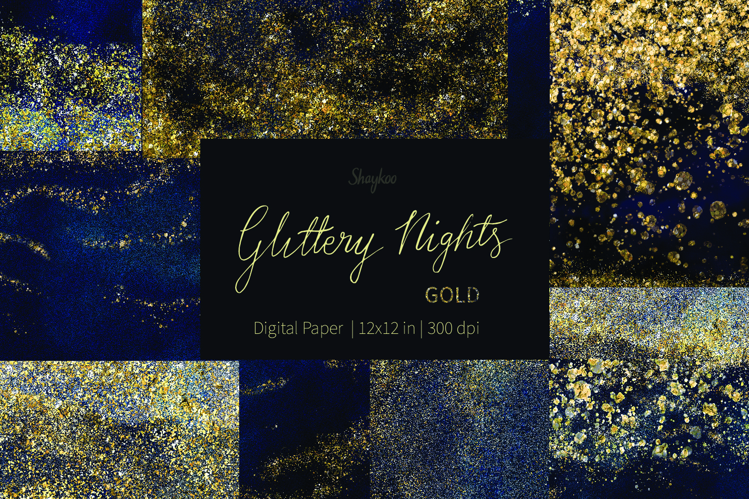 Starry Nights Digital Paper, Gold Glitter Background, Dark example image 1