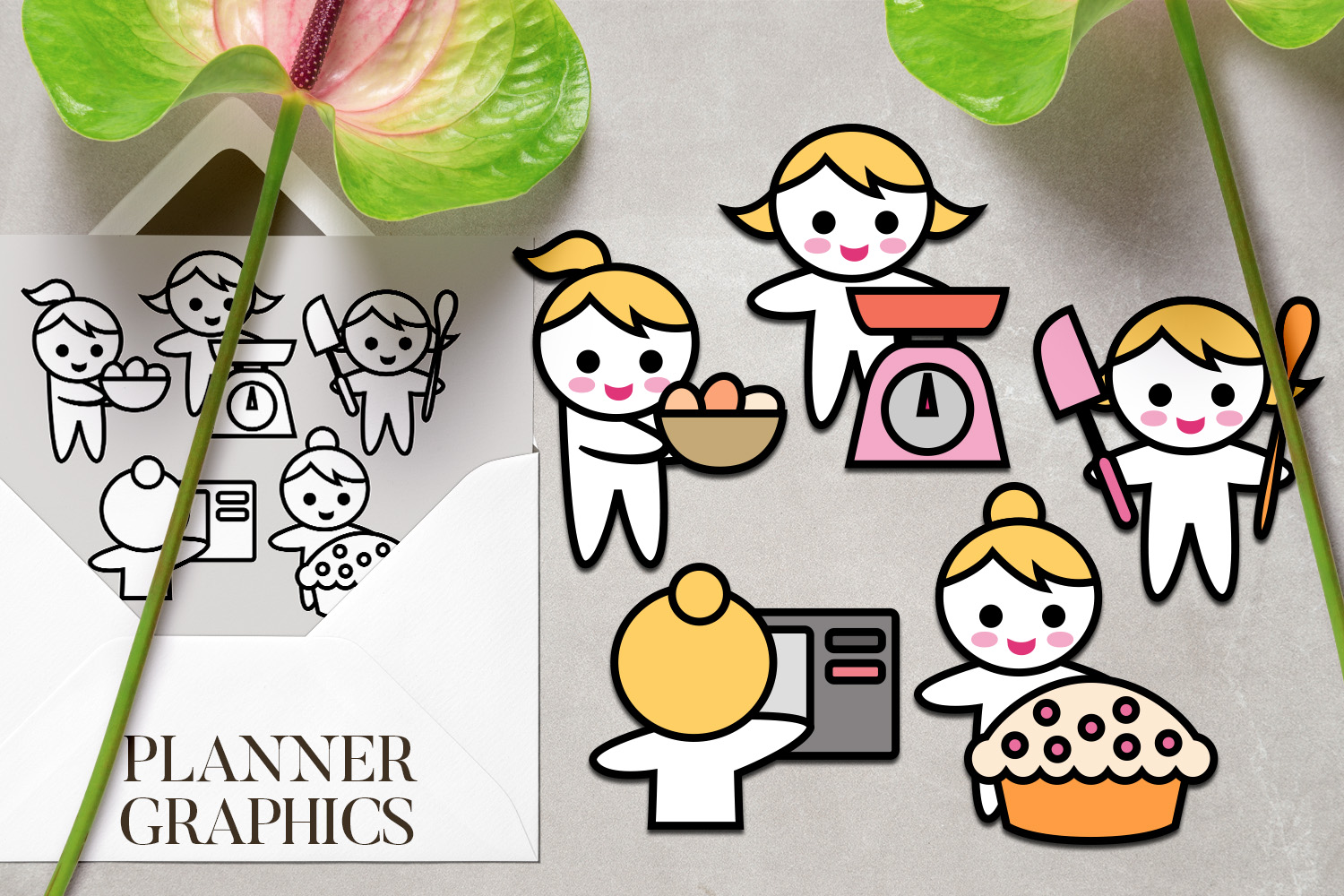 Hobby illustrations bundle - planner sticker graphics example image 2