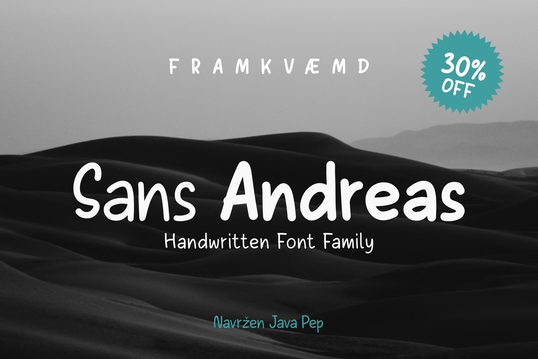 Sans Andreas // Handwritten family example image 1