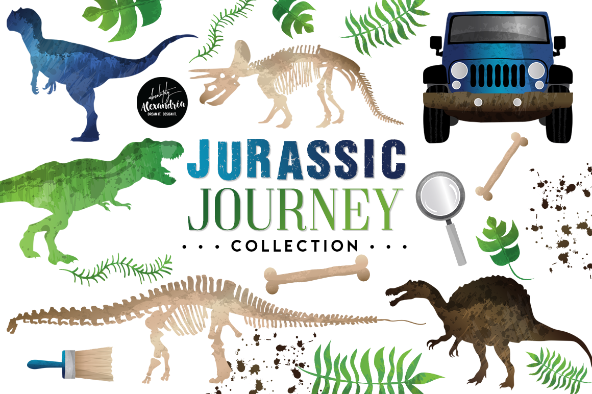 Jurassic Journey Clipart Graphics & Digital Paper Patterns Bundle example image 1