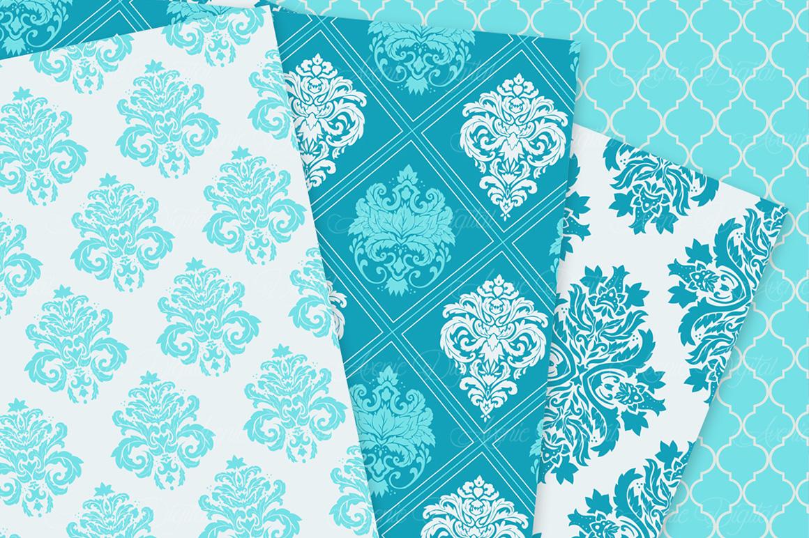 28 Soft Blue Damask Patterns - Seamless Digital Papers Bundle example image 7