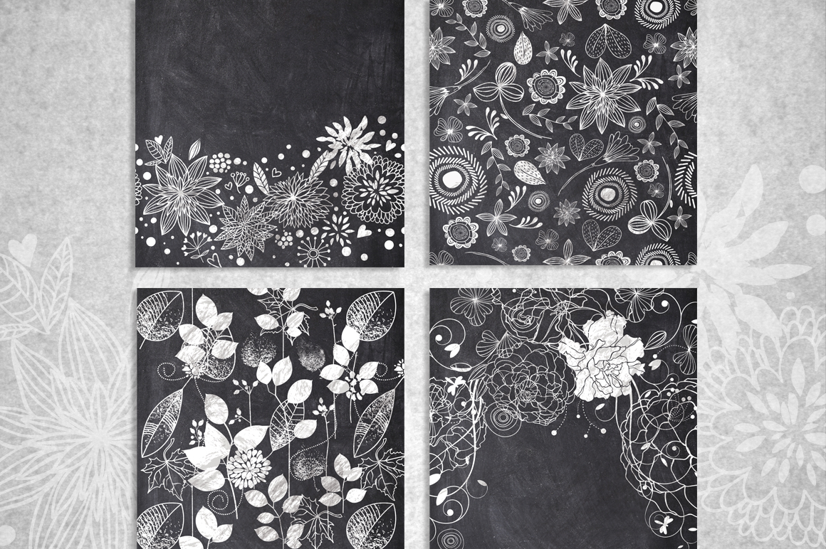 10 Chalk Floral Pattern Elements example image 3