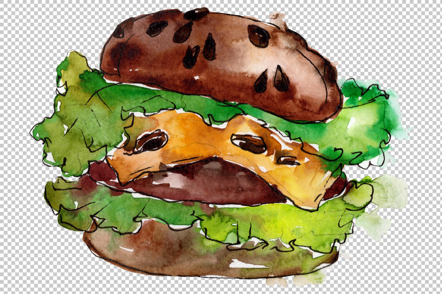 Hamburger Watercolor png example image 2