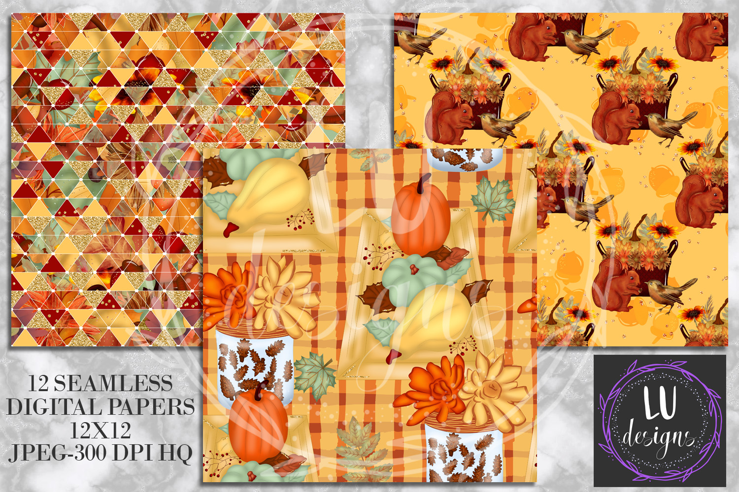 Fall Digital Papers, Autumn Backgrounds, Fall Patterns example image 5