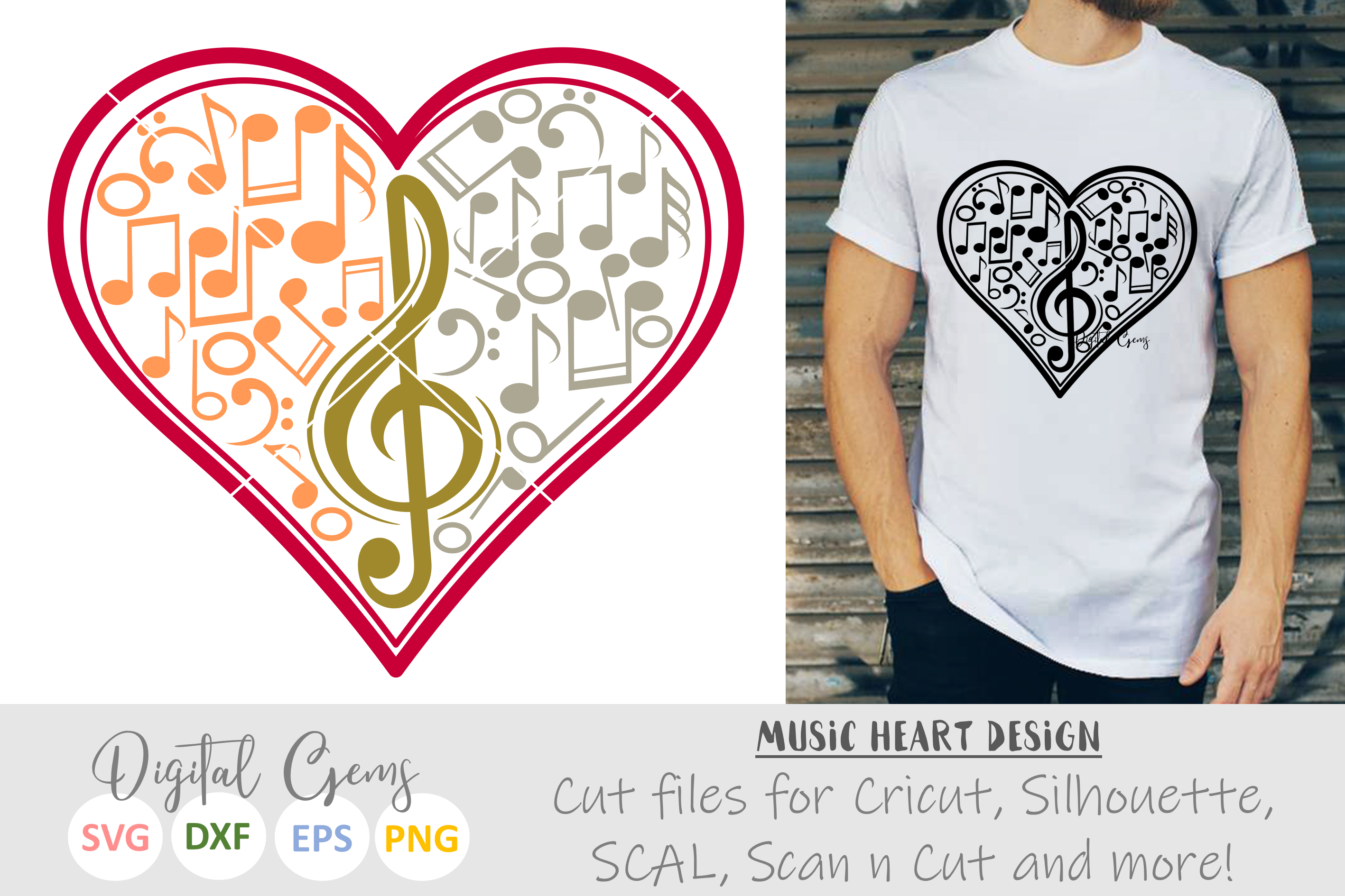 Music note heart SVG / DXF / EPS / PNG files example image 1