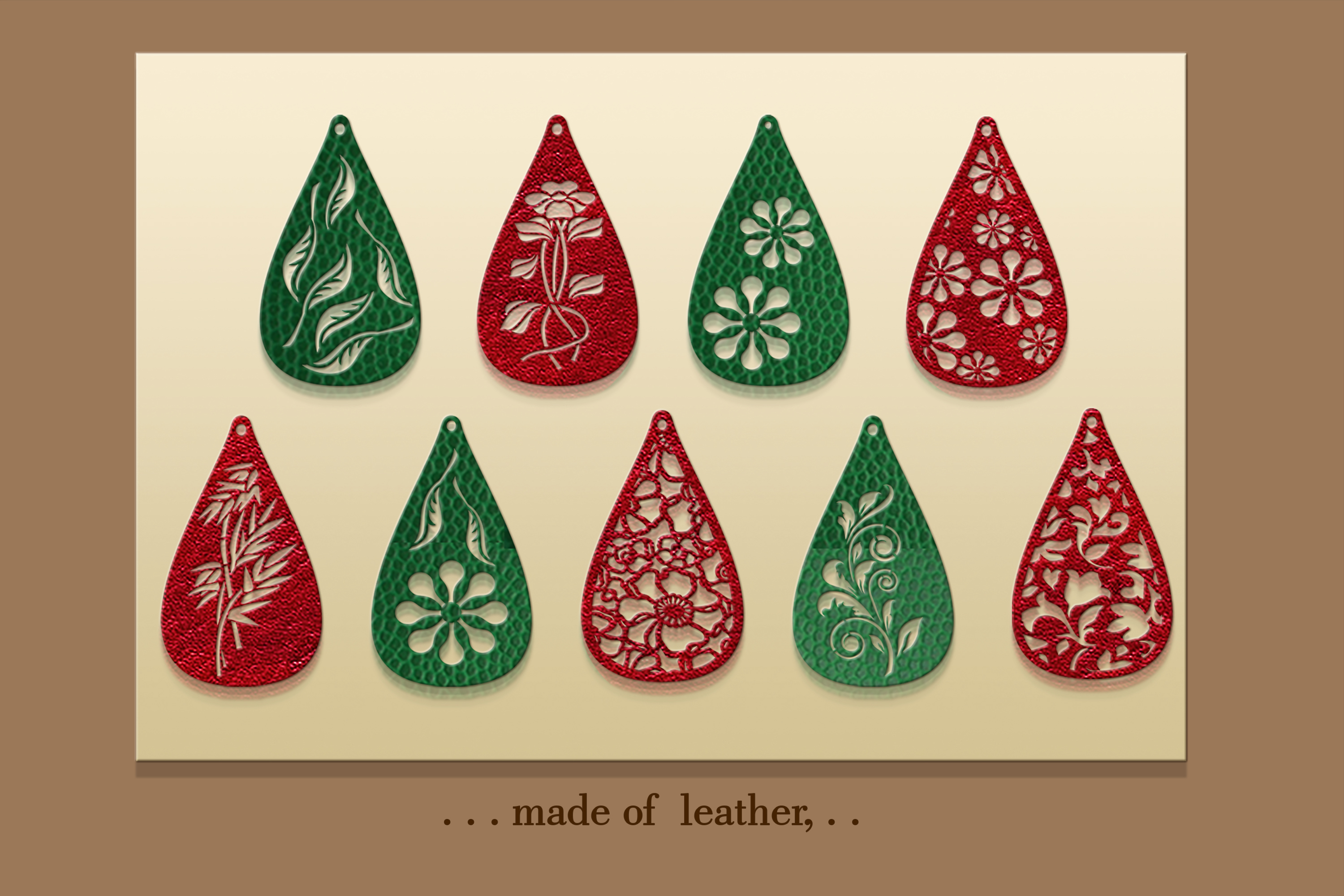 9 Leather earring svg Teardrop earring Nature earrings svg example image 3