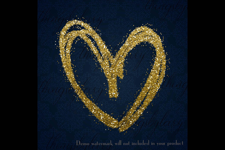 30 Gold Glitter Hand Drawn Heart Clip Arts Wedding Valentine example image 3