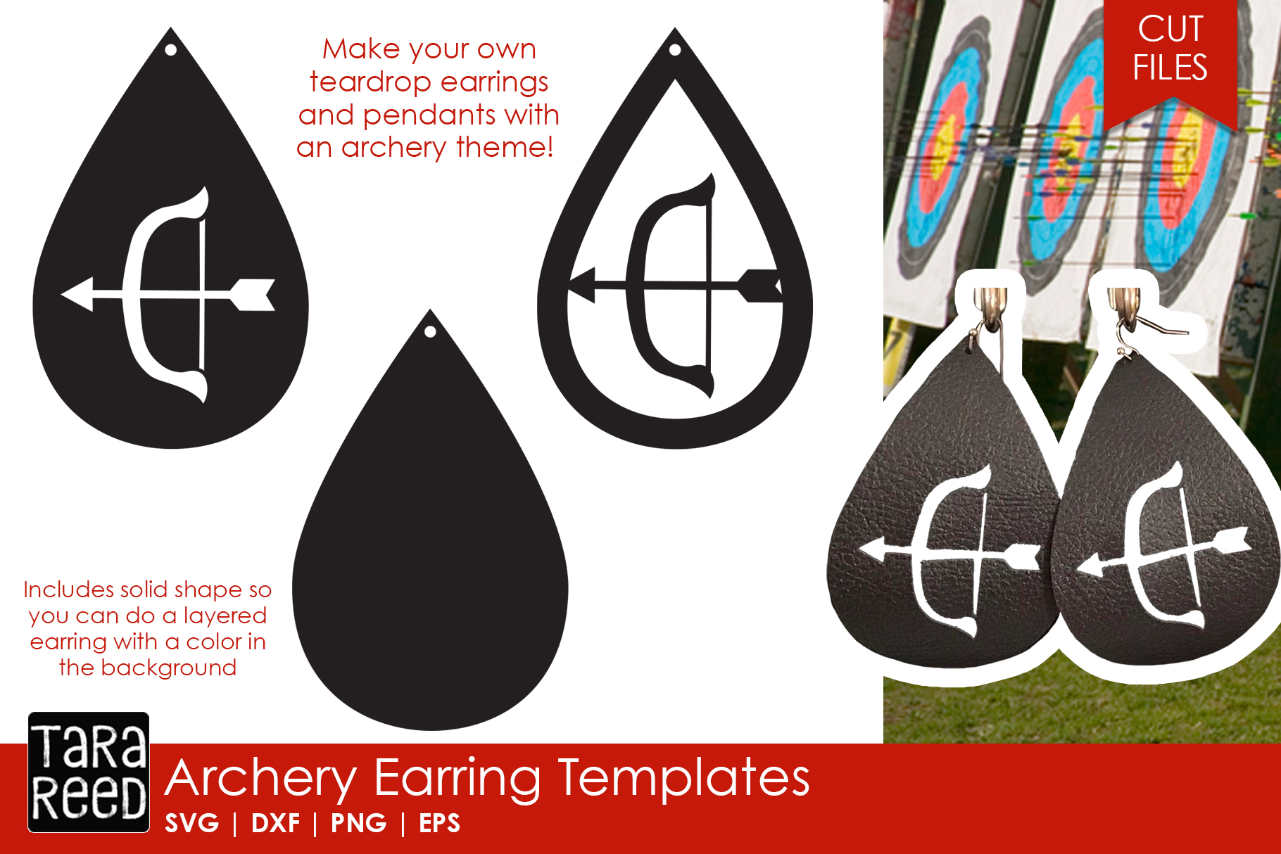 Archery Earring Templates - Archery SVG and Cut Files example image 1