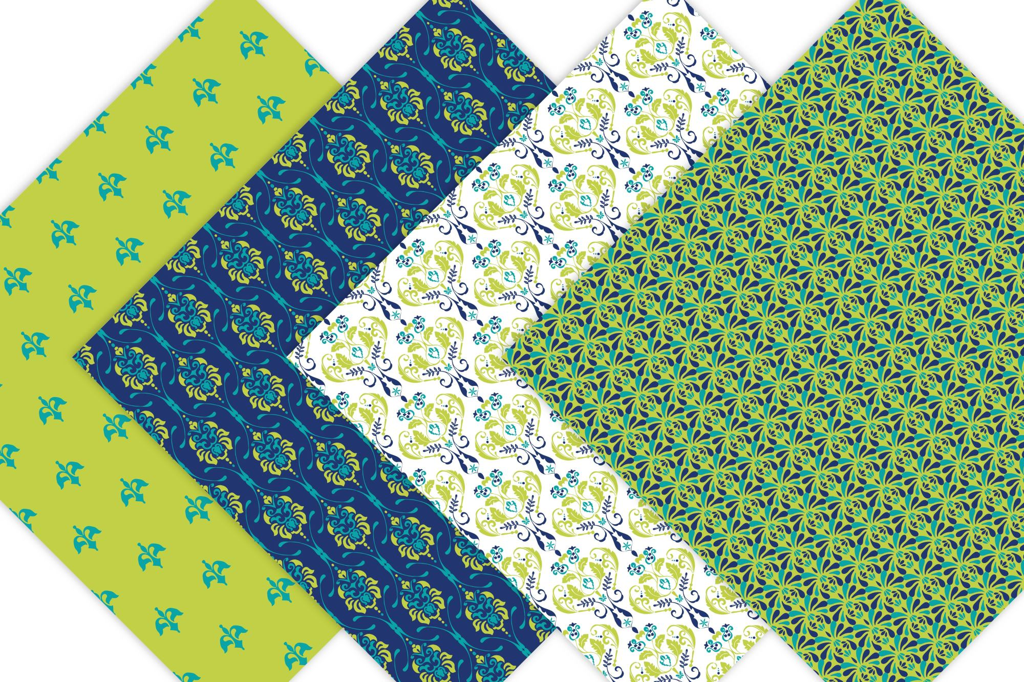 Lime Green and Navy Blue Digital Paper example image 4