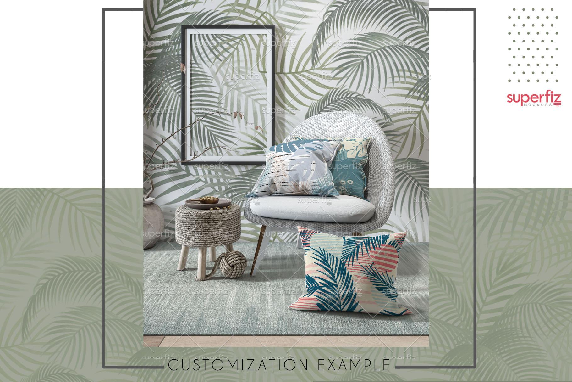 Pillows Wallpaper Frame Carpet PSD Mockup SM77 example image 3