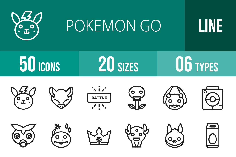 50 Pokemon Go Line Icons example image 1