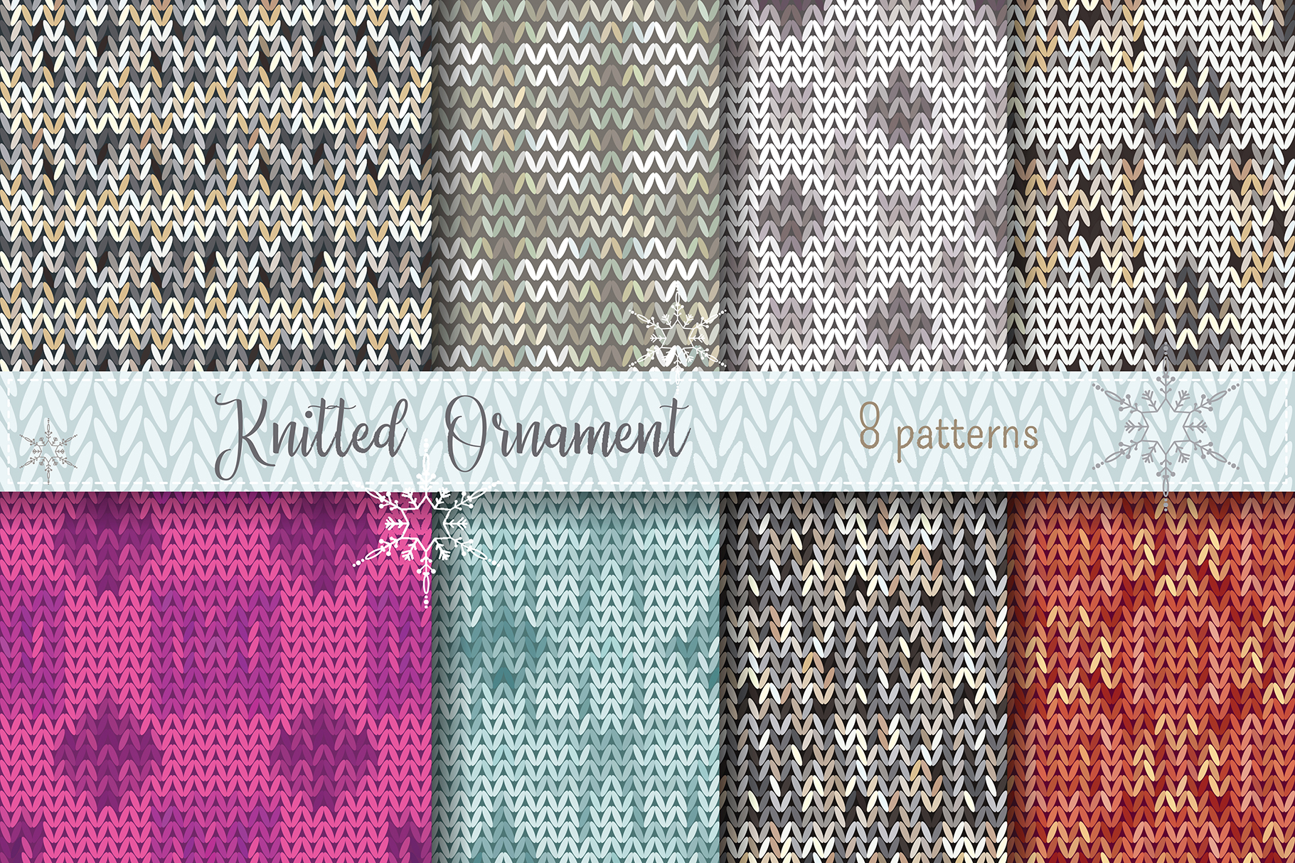 Christmas Vector knitted pattern background example image 1
