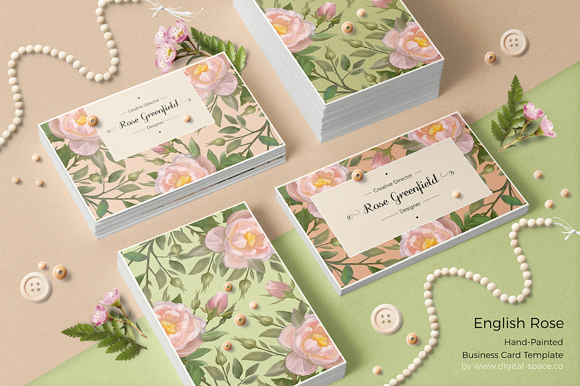 English Rose PSD Business Card Template example image 5