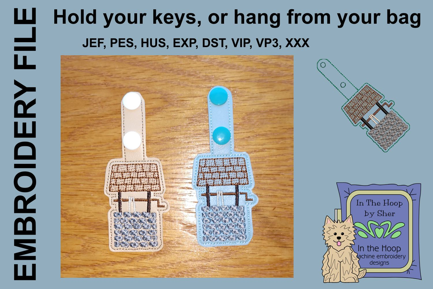 ITH Wishing Well Key Fob - Embroidery Design example image 2