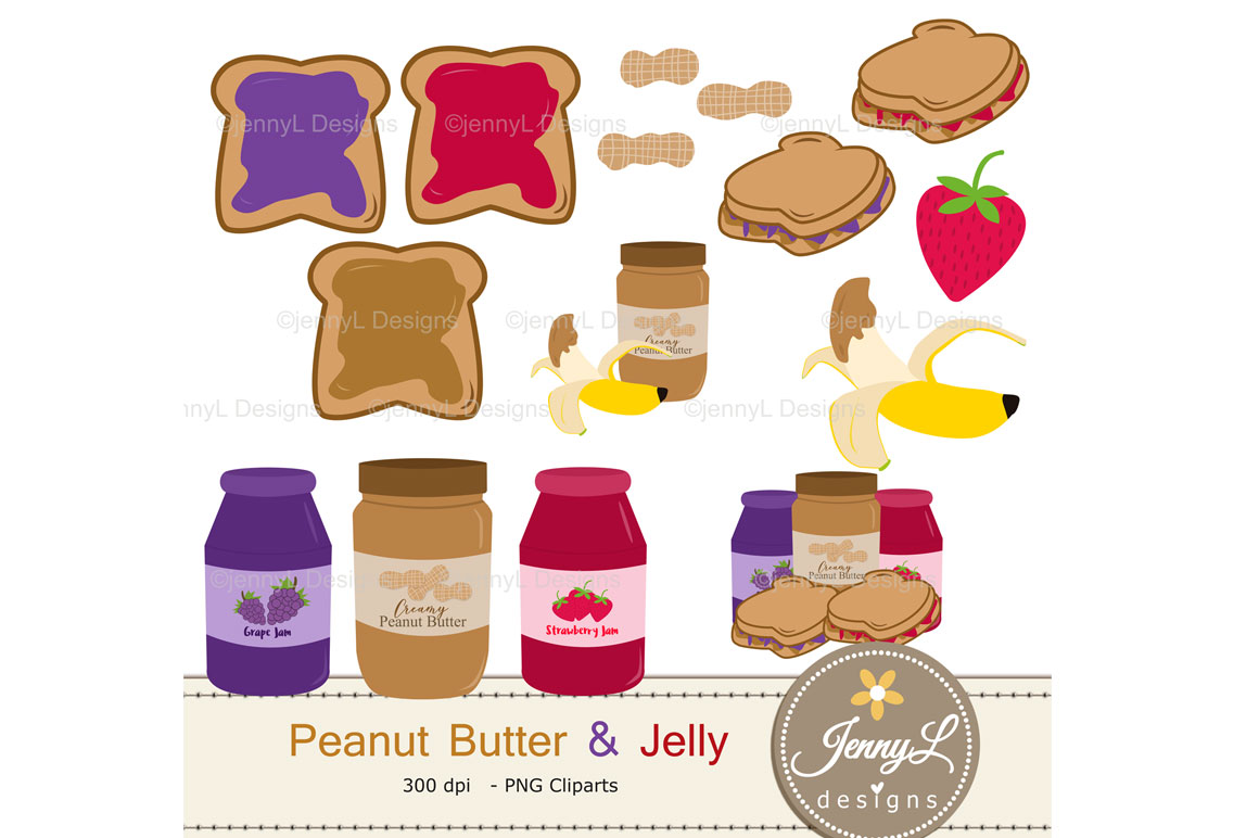 Peanut Butter and Jelly Digital Papers and Jam Clipart example image 6