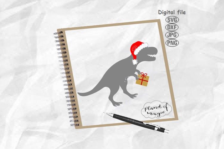 Santa Dinosaur Svg, Dinosaur Svg, Santa Saurus Svg, Dino Svg example image 1