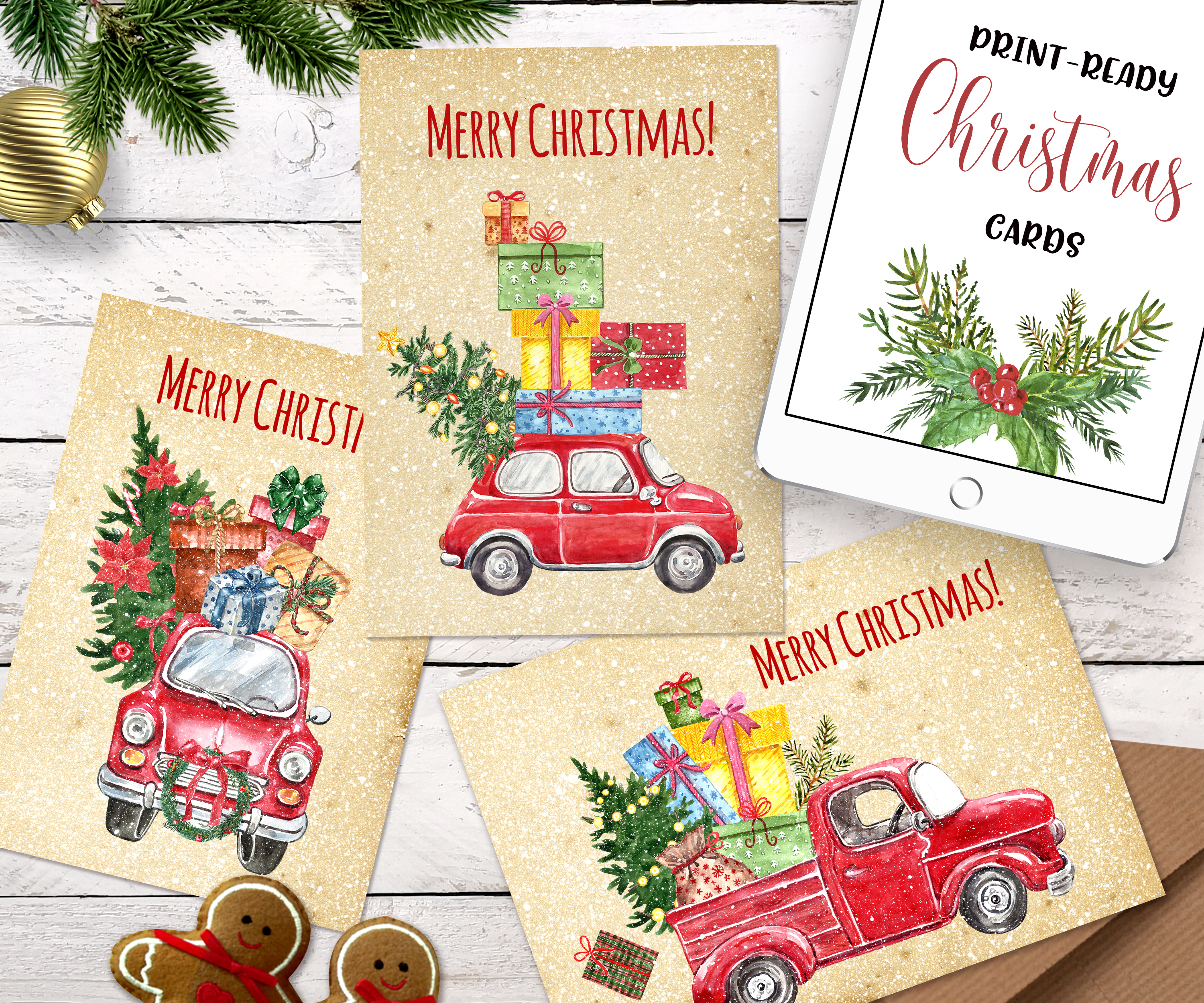 Watercolor Christmas Card Clip Art Holiday Card Set template example image 6