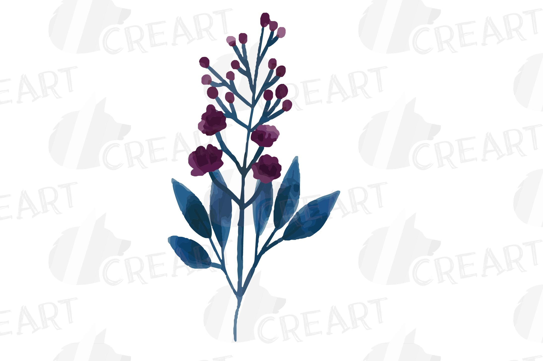 Floral navy watercolor, dark indigo and blush pink flowers example image 21