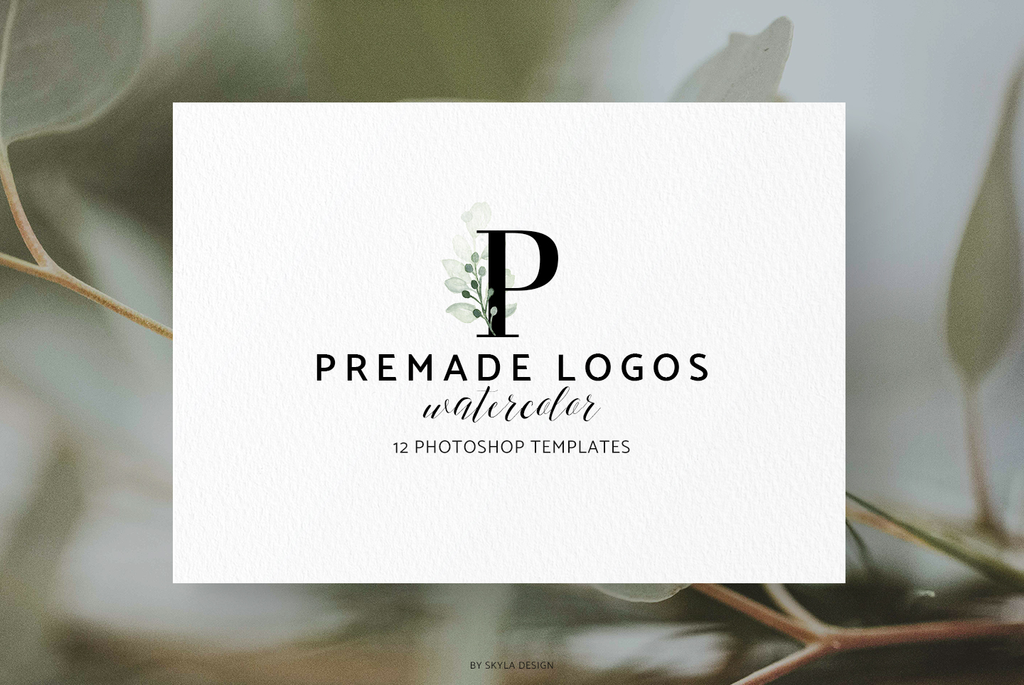 Premade Logo bundle watercolor greenery templates example image 8