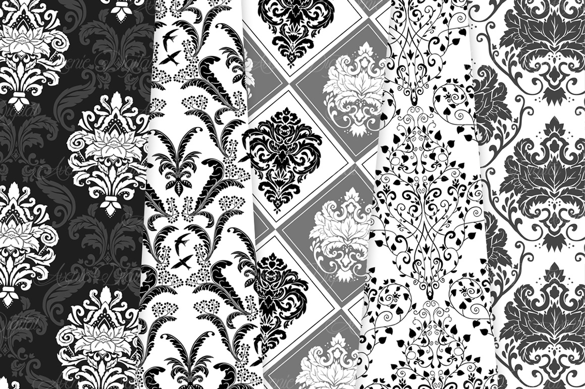 Black and White Damask Patterns - Seamless Digital Papers example image 6