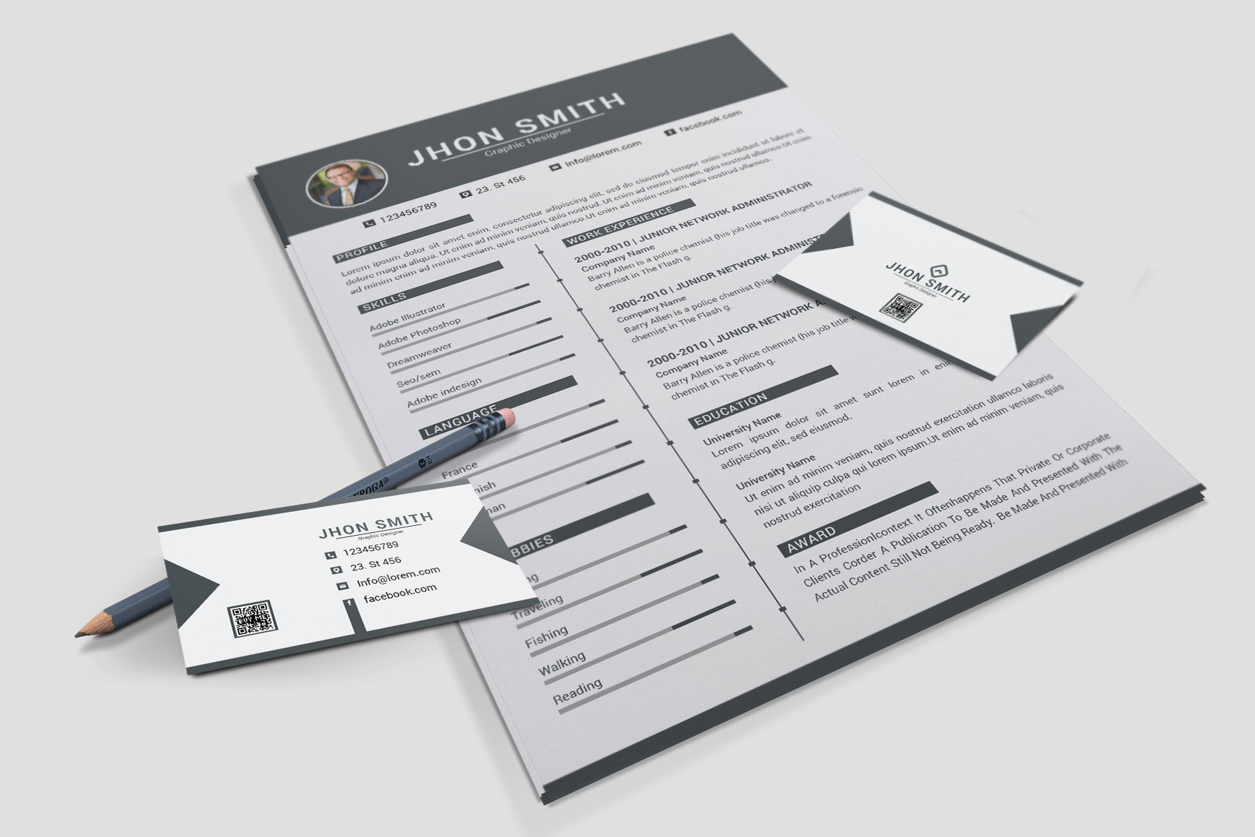 Professional Cv Resume Bonus business card Word/PSD,AI example image 7