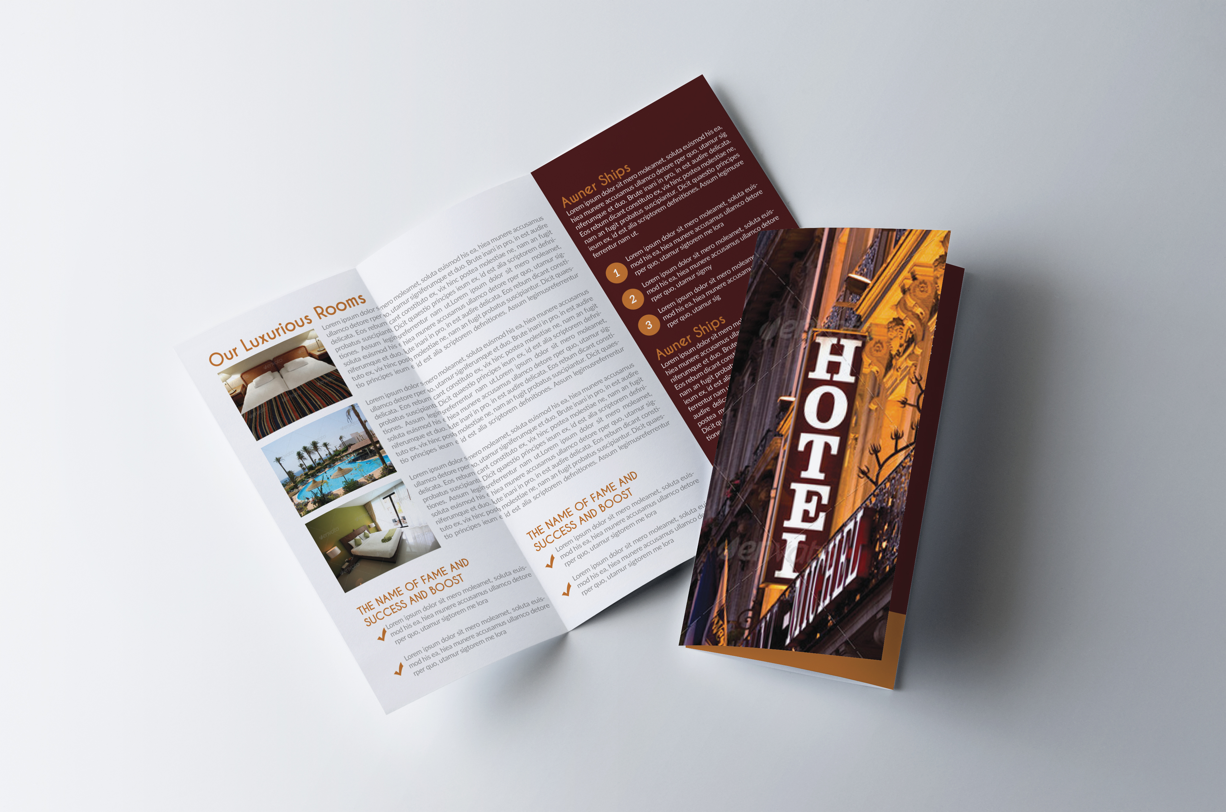 Luxury Hotel Trifold Brochure  example image 1