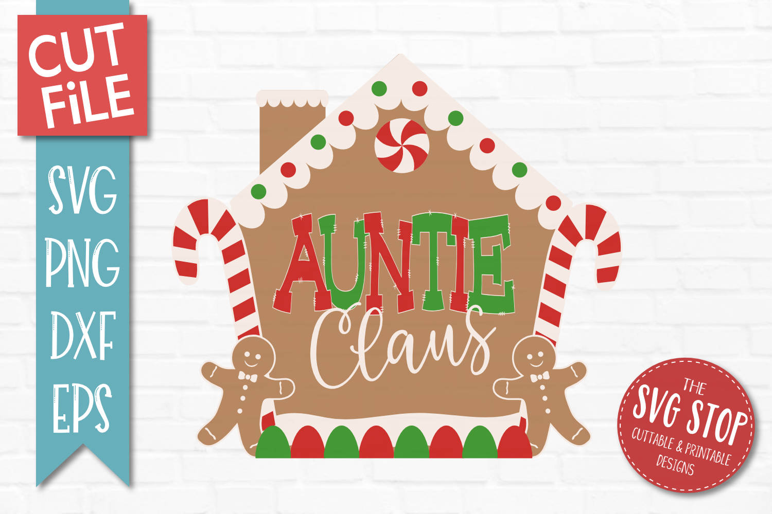 Auntie Claus Gingerbread Christmas SVG, PNG, DXF, EPS example image 1