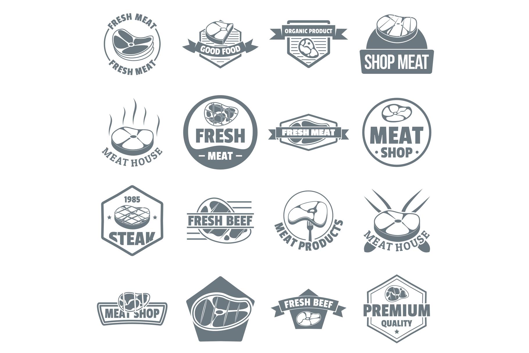 Steak logo icons set, simple style example image 1