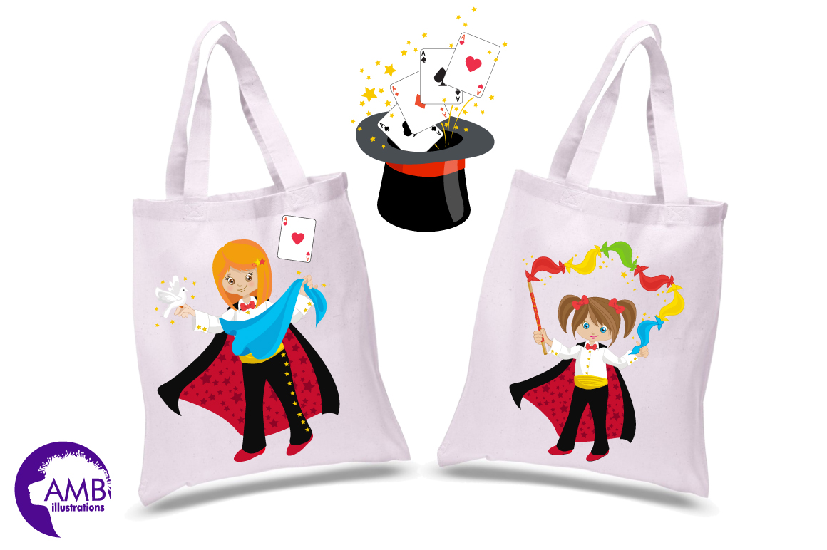 Girl's Magician Party clipart, graphics, illustrations AMB-1192 example image 2