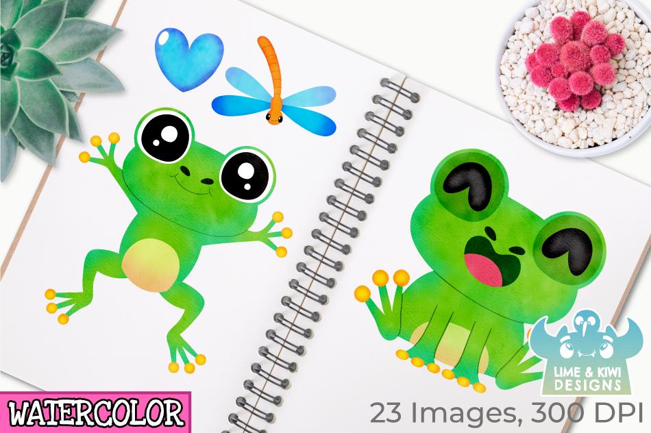 Frog Boys Watercolor Clipart, Instant Download Vector Art example image 3