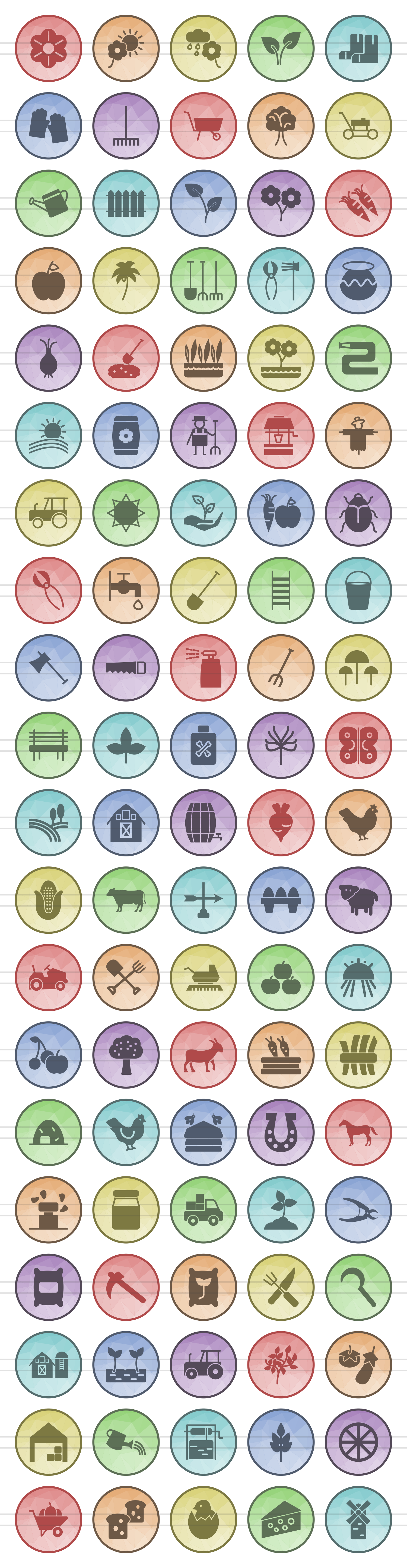 100 Farm & Gardening Filled Low Poly Icons example image 2