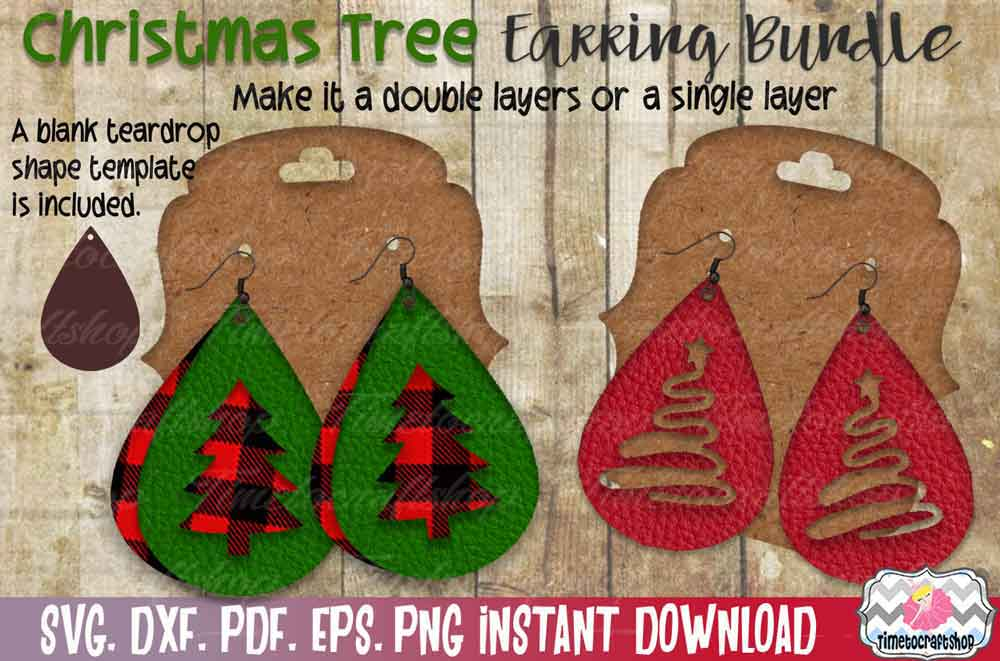 Christmas Tree Earring Template Bundle, Faux leather Earring example image 2