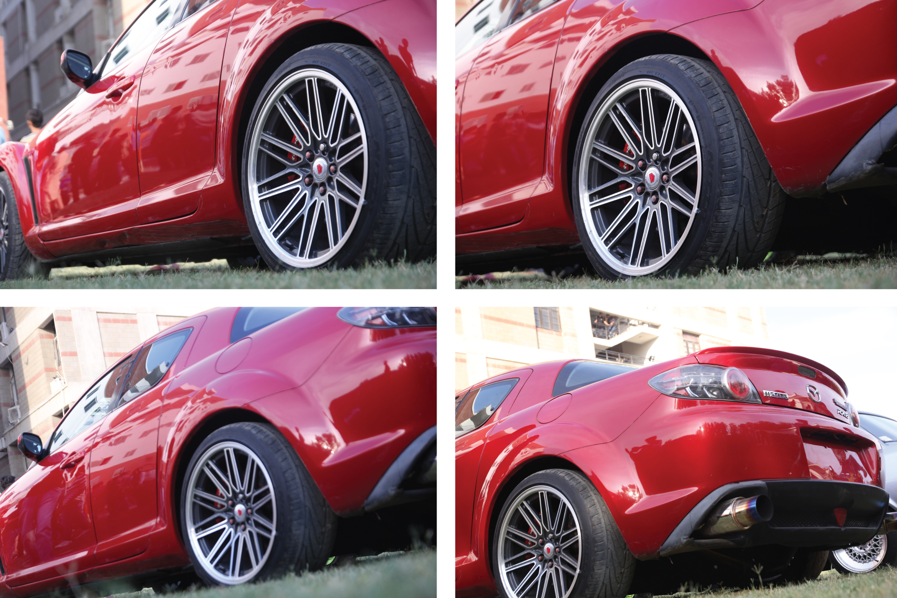 Red color Sport car back side view, Chrome rim, wheel, tyre. example image 1