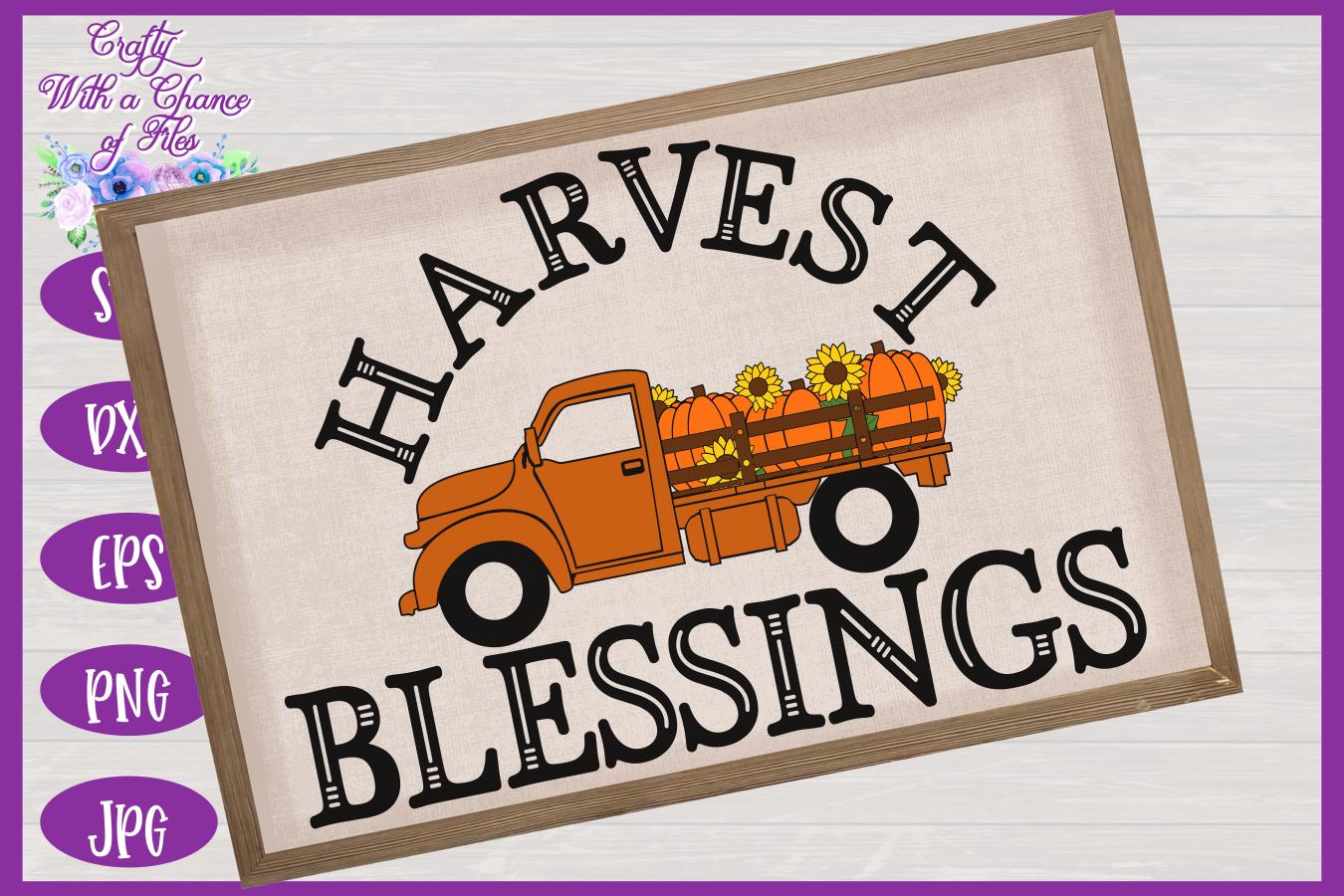 Harvest Blessings SVG | Pumpkin Truck SVG | Farm Truck SVG example image 2