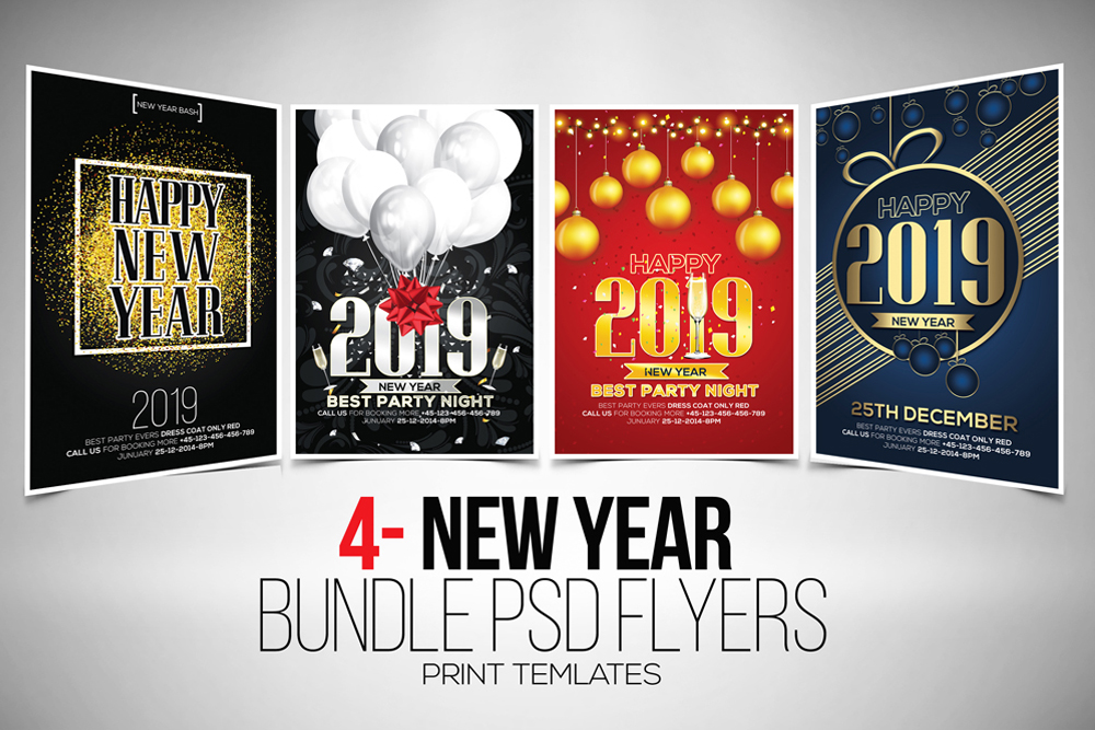 4 New Year Party Flyers Bundle example image 1