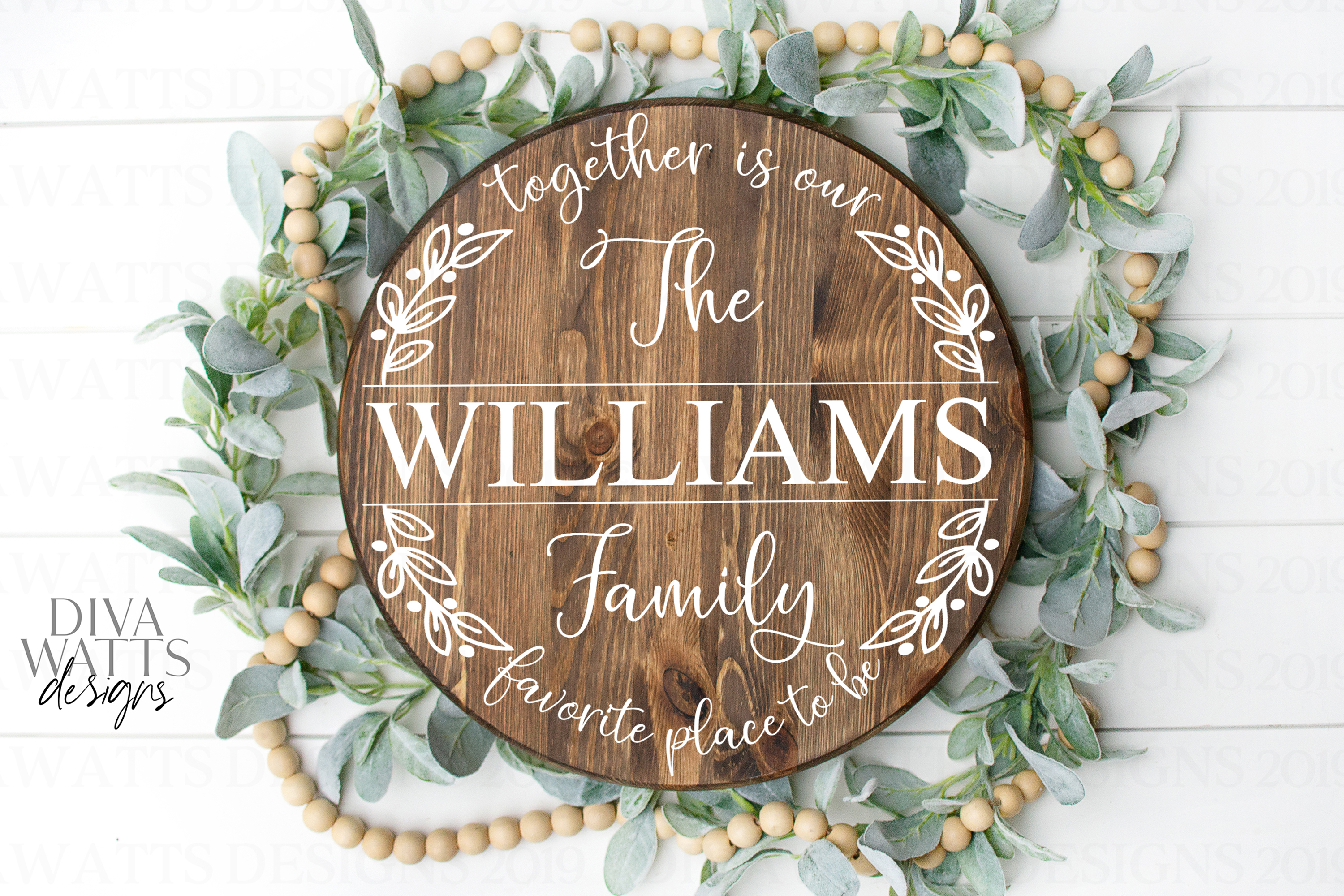 Together Is Our Favorite Place To Be Family Name Sign SVG example image 2
