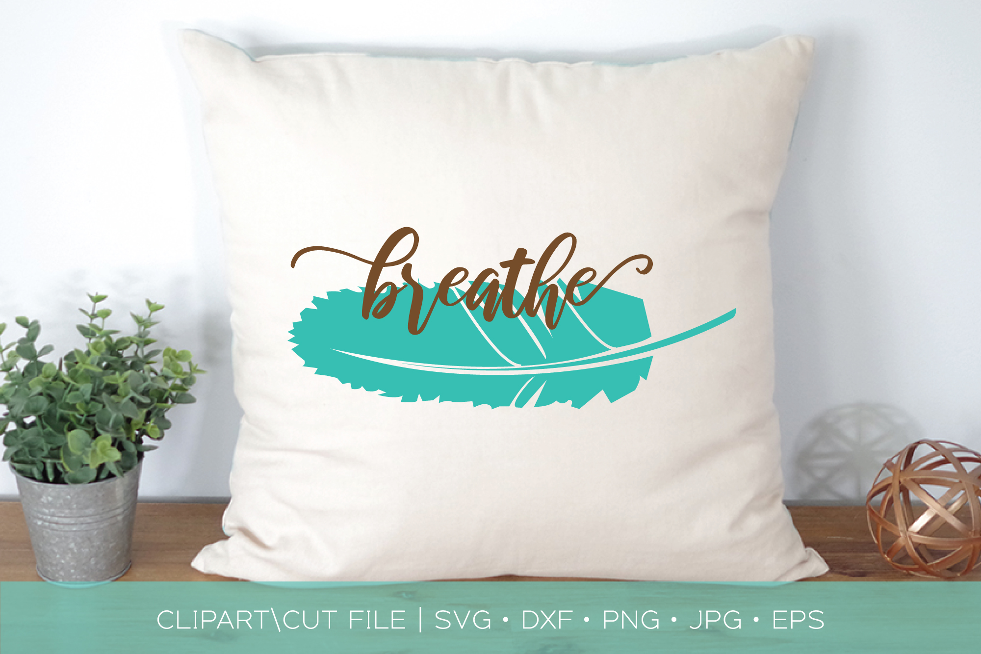 Breathe Feather SVG DXF Cut File example image 1