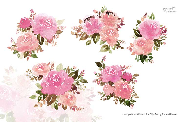Pink Rose Floral Watercolor Bouquet Set example image 3